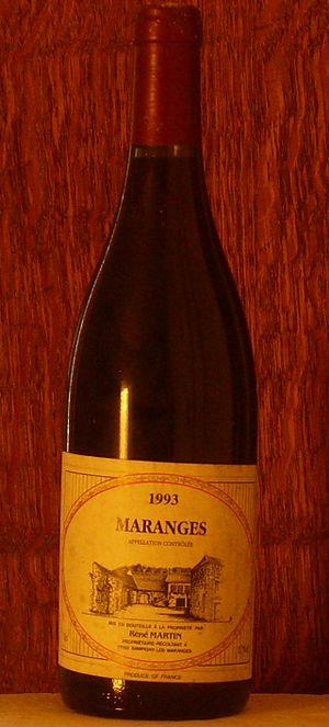 Maranges wine - A bottle of Maranges wine.