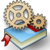 Icon of two cogs over a book