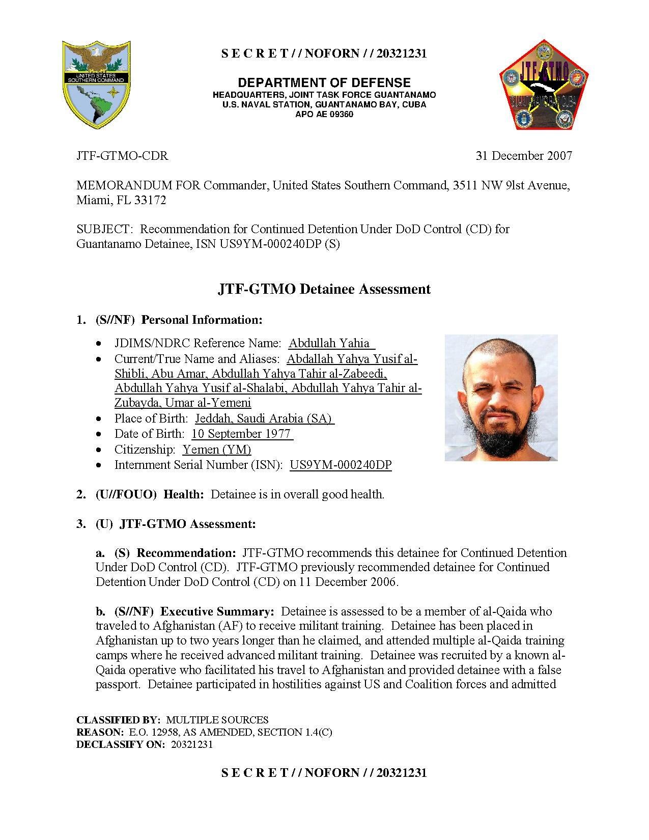 ISN 00240, Abdullah Yahia's Guantanamo detainee assessment.pdf