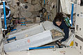 ISS-20 Nicole Stott with her crew quarters compartment in the Kibo lab.jpg