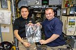 ISS-48 Takuya Onishi and Aleksey Ovchinin inside the Zvezda service module.jpg