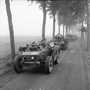 Daimler Armoured Car - Turretless version leading a convoy