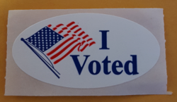 "An ""I voted"" sticker given to Boston voters in 2016."