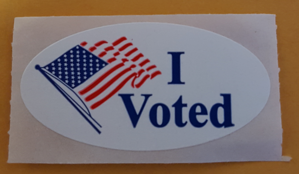 "Elections in the United States - An ""I voted"" sticker given to Boston voters in 2016"