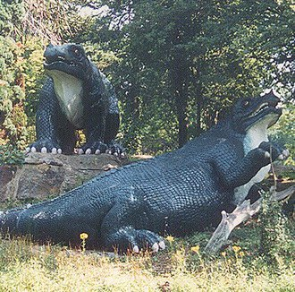 Crystal Palace Dinosaurs - Iguanodon models in 1995, before restoration, showing previous countershaded paint scheme with white undersides