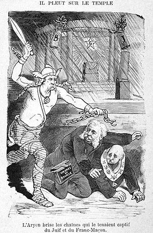 "Judeo-Masonic conspiracy theory - ""The Aryan breaks the chains of the Jew and the Freemason that held him captive"", drawing of 1897 in a book by Augustin-Joseph Jacquet, France"