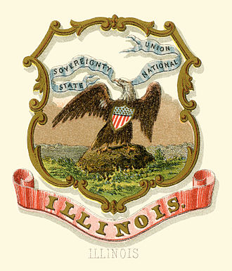 Flag and seal of Illinois - Illinois state historical coat of arms (illustrated, 1876)