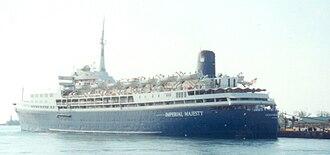 SS Southern Cross (1954) - OceanBreeze docked in Nassau, Bahamas, 2000.