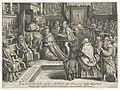 In de Sixtijnse kapel wordt Cosimo De' Medici in 1569 door Pius V gekroond tot groothertog van Toscane. Op de achtergrond het Laatste oordeel van Michelangelo. NL-HlmNHA 53008271.JPG