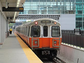 Orange Line (MBTA) - Inbound train at Assembly on opening day, September 2014