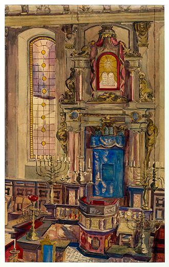 Halberstadt - Interior of Halberstadt Synagogue in 1930 (watercolour painting)