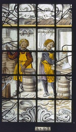 """De Rijp - Image: Interieur, gebrandschilderd glas, raam 3 """"De vrijwillige kuiperij"""", detail B3 De Rijp 20362689 RCE"""