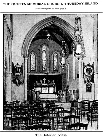 John H. Buckeridge - Image: Interior of Quetta Memorial Church, Thursday Island, 1895
