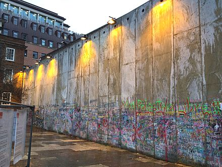 Replica section of the Israeli Security Wall, built in the church grounds, as part of the international protest against the Israeli wall. Israel Wall in London.JPG