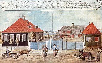 Jāņi - Jāņi Eve by Muižeļa Manor in 1793 (Brotze).