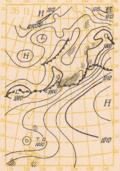 昭和28年6月26日9:00の地上実況天気図