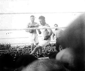 Billy Miske - Miske falling to the mat during his 1920 bout with Jack Dempsey