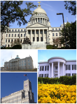 Images tap, left tae richt: Mississippi State Capitol, Old Mississippi State Capitol, Lamar Life Building, Mississippi Governor's Mansion