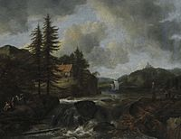 Jacob van Ruisdael - Waterfall in a Mountain Landscape with a Ship.jpg