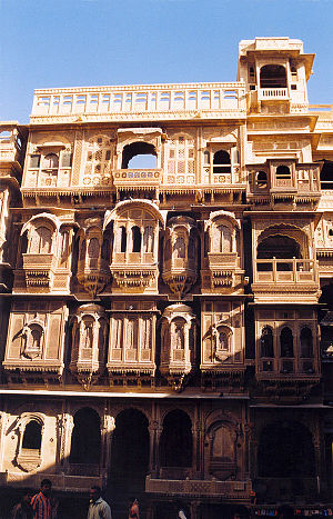 Jharokha - Several jharokhas can be seen jutting out from the facade of this typical haveli at Jaisalmer, Rajasthan