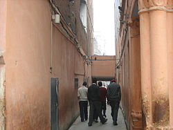 Image of narrow passage between tall walls which leads to the entrance of Jallianwala Bagh