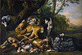 Jan Fyt - The spoils of the chase being guarded by a dog, a landscape beyond.jpg