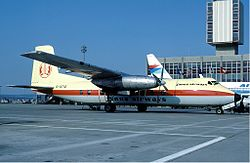 Janus Airways Handley Page Herald at Basle Airport - April 1984.jpg