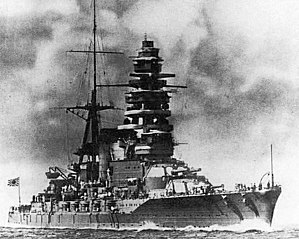 Japanese battleship Mutsu - Mutsu at sea after her reconstruction