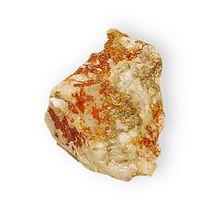 Jarosite on quartz Potassium iron sulfate Arabia District, Pershing County, Nevada 2779.jpg