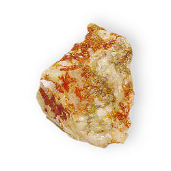 Jarosite on quartz Potassium iron sulfate Arabia District, Pershing County, Nevada 2779.jpg