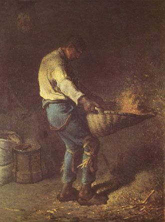 Winnowing - Le vanneur (The Winnower) by Jean-François Millet, a 19th-century depiction of winnowing by fan