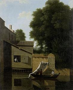 Jean-Victor Bertin - Les gens dans un bateau passant une ville riveraine.jpg
