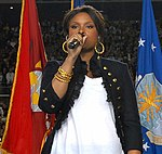 Jennifer Hudson sings national anthem at Super Bowl 43 (cropped1).jpg