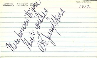 Jerry Akers - Akers' autograph on a note card, dated 1912.