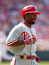 Photograph of Jimmy Rollins, Phillies' shortstop from 2000 to 2014 up at bat