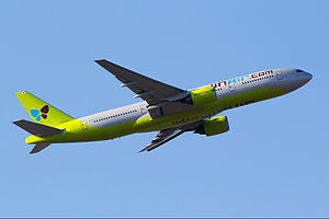 Jin Air - Jin Air Boeing 777-200ER taking off from Seoul Incheon