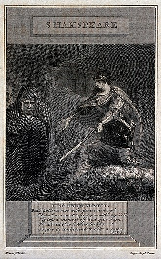 "Shakespearean history - 'Joan of Arc conjures demons in Shakespeare's Henry VI (engraving by C. Warren, 1805, after J. Thurston). ""Next to her, Talbot is a blundering oaf, who furiously attributes her success to sorcery, whereas the audience knows that she has simply outfoxed him by superior military strategy."" - H. A. Kelly (1970)"