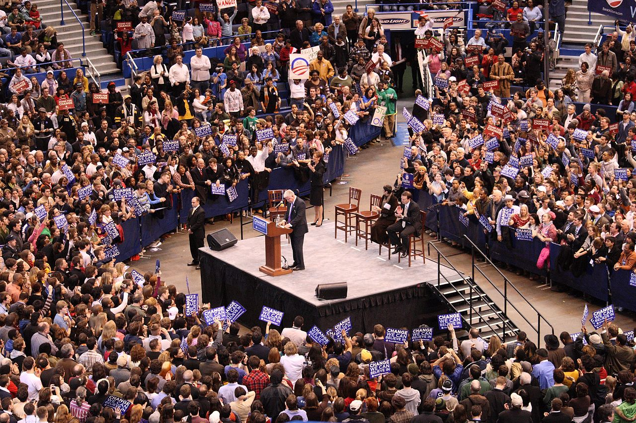 The Hartford At Work >> File:John B. Larson and crowd at Barack Obama rally ...