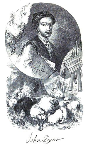 John Dyer - The Bard of the Fleece, a portrait provided by a relative and incorporated into a design engraved by the Brothers Dalziel, 1855