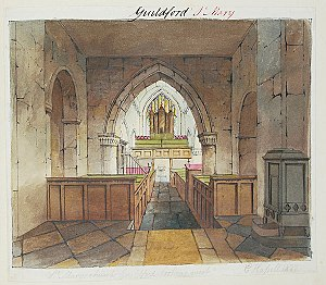 St Mary's Church, Guildford - Watercolour of the interior of St Mary's by John Hassell (about 1824)