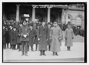 30th New York Volunteer Infantry Regiment - John Purroy Mitchel and General Leonard Wood reviewing the 30th New York Volunteer Infantry Regiment on January 20, 1915