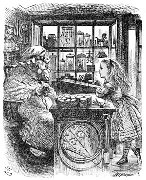 Alice's Shop - Tenniel's illustration of 'The Old Sheep Shop'. As the book was about a land behind a mirror, Tenniel's picture is a mirror image of the real shop.