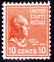 Historical ten-cent stamp with Tyler's profile.