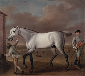 John Wootton - The Duke of Hamilton's Grey Racehorse, 'Victorious,' at Newmarket, c. 1725