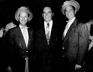 Frank G. Clement - Governor Clement (center), photographed with country music stars Jack Anglin and Johnnie Wright in 1957