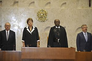 Joaquim Barbosa - From left to right: José Sarney (then President of the Senate), Dilma Rousseff (then President of Brazil), Barbosa and Marco Maia (then President of the Chamber of Deputies) during the tenure of Barbosa as President of the Supreme Federal Court, November 22, 2012.