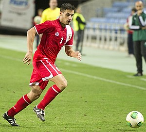 Joseph Chipolina - Chipolina playing against Slovakia in Gibraltar's UEFA debut, 2013