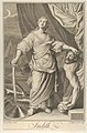 Judith standing and looking up, holding the head of Holofernes in her left hand and a sword in her right, tents in the background, after Reni MET DP841318.jpg