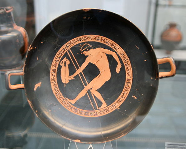 kylix painting of a long jumper with halteres (c. 5th century BC) - Greek Pentathlon