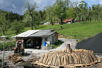 Charcoal burner - Charcoal burning in Grünburg near the River Steyr water gap